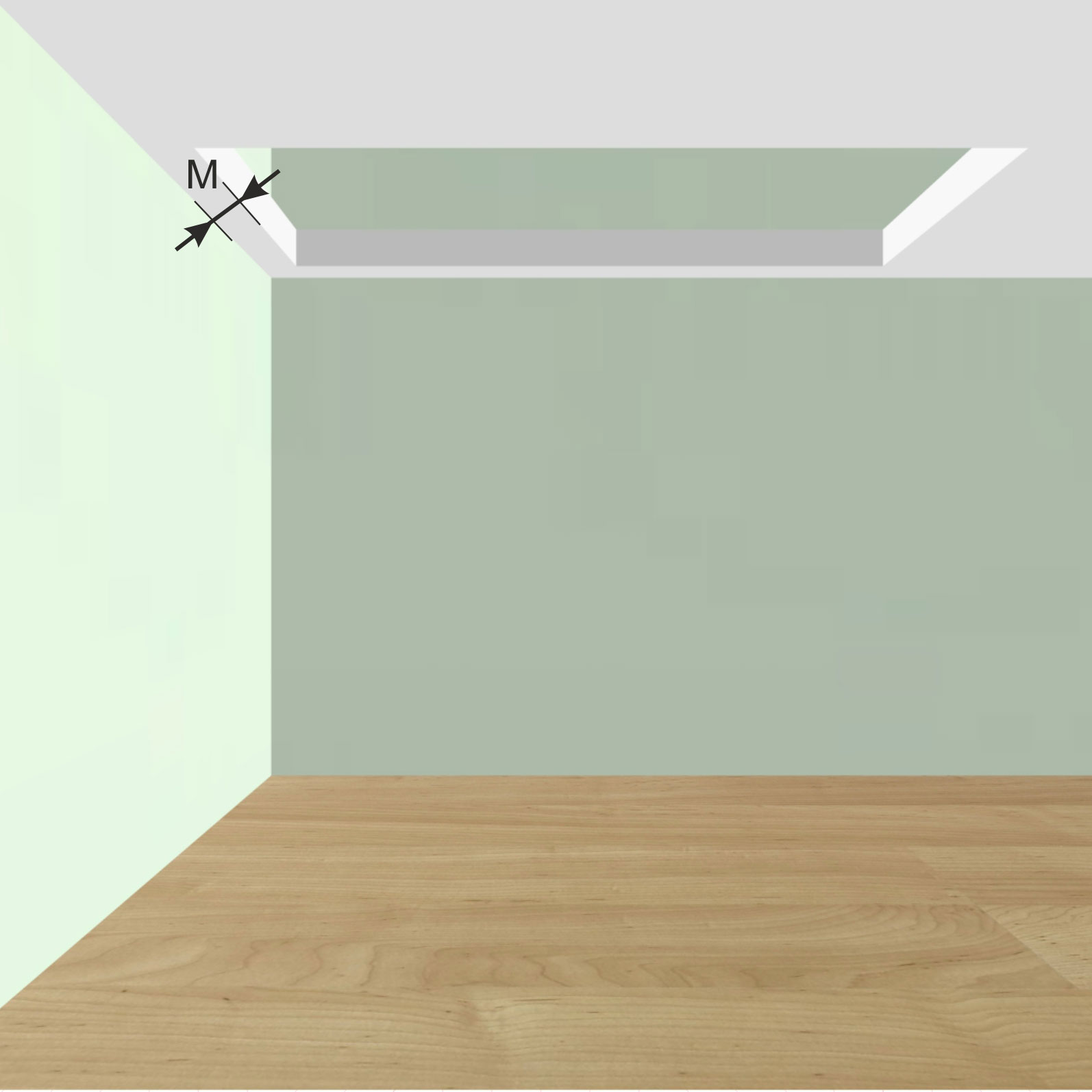 Расстояние от стен 1-го этажа до начала проема в межэтажном перекрытии M